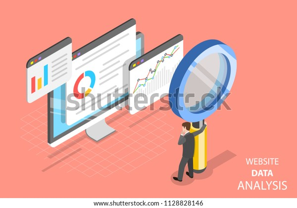 Flat isometric vector concept of website data analysis, web analytics, SEO audit report, marketing strategy.