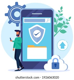 Flat isometric vector illustration isolated on white background. The concept of data protection, the character of the person around the laptop. Can be used for web banners, infographics, hero images.