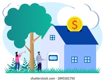 Flat Isometric Vector Illustration. Men Buy Homes on Mortgage and Pay Credit to the Bank. People Invest Money in Real Estate Property. The concept of KPR, Rent and KPR. The right purchase.