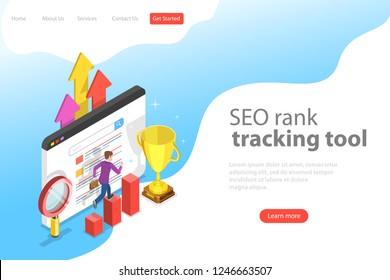 Flat isometric vector landing page template of seo rank tracking tool, web analytics, website optimization marketing.