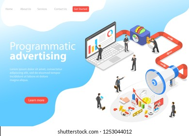 Flat isometric vector landing page template of programmatic advertising, social media campaign.