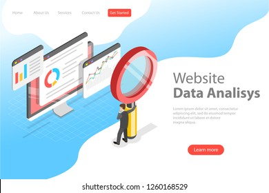 Flat isometric vector landing page template of website data analysis, web analytics, SEO audit report, marketing strategy.