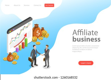 Flat isometric vector landing page template of affiliate marketing, business strategy, referral program, partnership.
