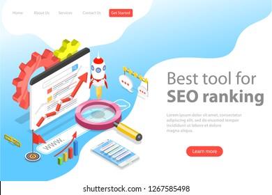 Flat isometric vector landing page template of seo ranking tool, web analytics, website optimization marketing.