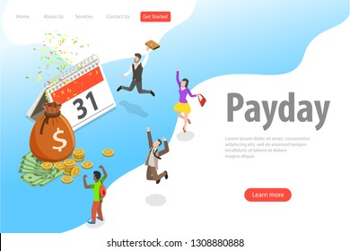 Flat isometric vector landing page template of salary, payout, bonus, income, annual payment day.