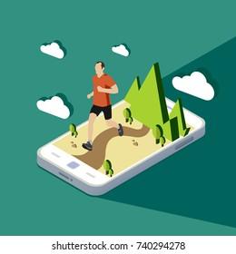 Flat isometric vector,  the man running on smart-phone illustration.