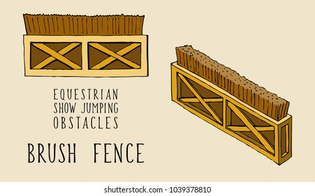 flat and isometry equestrian show jumping obstacles brush fence