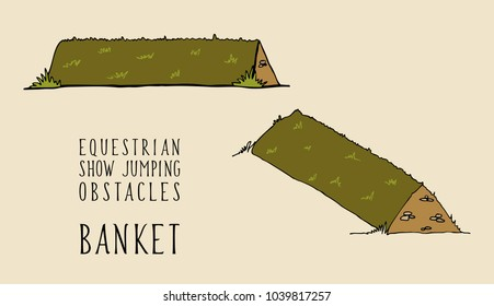flat and isometry equestrian show jumping obstacles banket