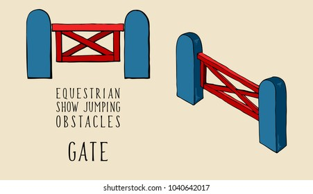 flat and isometry equestrian show jumping obstacles gate