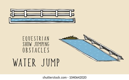 flat and isometry equestrian show jumping obstacles water jump