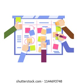 Flat IT, software developers, manager or designers hands working with big scrum agile board with daily tasks, kan ban desk with sticky notes. Vector illustration.