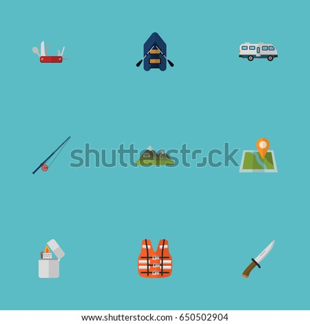 Flat Jacket Hunting Cutter Location Other Stock Vector Royalty Free