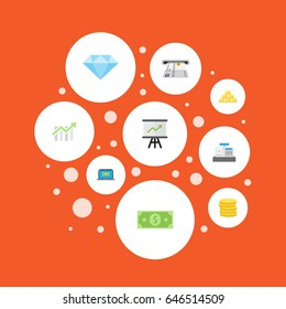 Flat Jewel Gem, Ingot, Money And Other Vector Elements. Set Of Finance Flat Symbols Also Includes Gold, Laptop, Growing Objects.