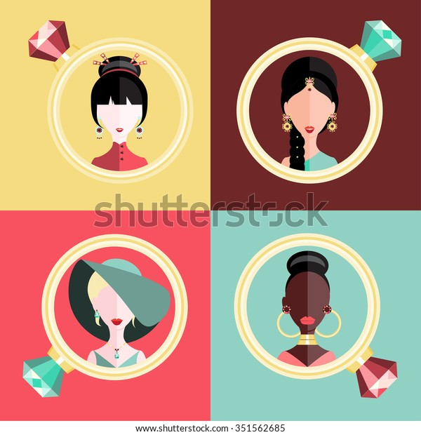 Flat Jewelry Women Jewelry Vector Women Stock Vector