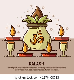 Flat Kalash poster design with yellow background and green kalash and decorations.