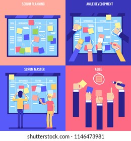 Flat kanban agile board posters set. IT, software developers, manager or designers hand sworking with big scrum agile board with daily tasks, sticky notes. Vector illustration.
