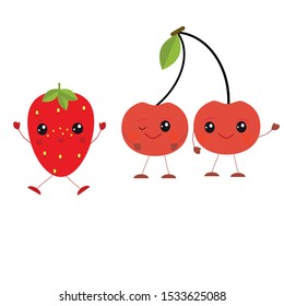 Flat kawaii berries on white background. Vector illustration. Strawberry and cherry