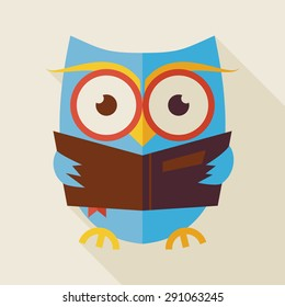 Flat Knowledge and Education Owl Reading Book Illustration with long Shadow. Back to School and Education Vector illustration. Flat Style Clever Colorful Owl Bird Reading the Book