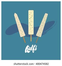 Flat Kulfi Ice Cream Vector Design