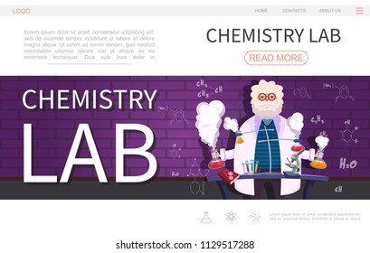 Flat laboratory research landing page template with scientist doing chemical experiment using lab equipment vector illustration