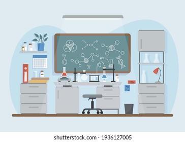 Flat laboratory room illustration Vector illustration.