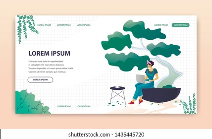 Flat Landing Page Advertising Modern Greenhouses. Woman Working, Searching Useful Information or Networking on Laptop while Rest with cup of Coffee in Eco Place. Vector Cartoon Illustration