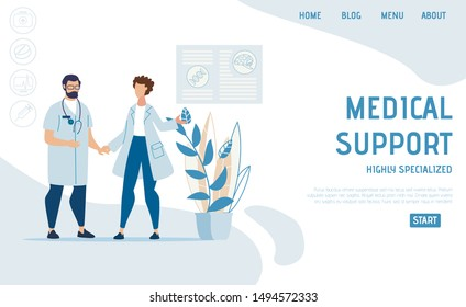 Flat Landing Page Advertising Specialized Medical Support. Cartoon Nurse and Practitioner, Male and Female Doctors Clinic Staff Character. Online Medicine and Insurance. Vector Illustration