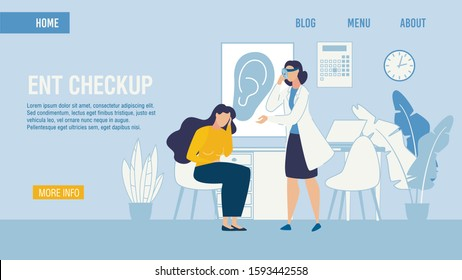 Flat Landing Page Medical ENT Checkup Service. Professional Otolaryngologist Making Patient Examination with Special Equipment. Woman Suffering from Ear Ache. Vector Cartoon Illustration