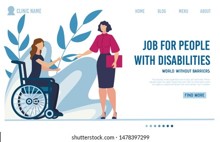 Flat Landing Page Offer Job for Disabled People. Woman with Disabilities Sitting in Wheelchair Taking Hiring Contract from Female Employer. Work Interview. Vector Cartoon Illustration. Foliage Design