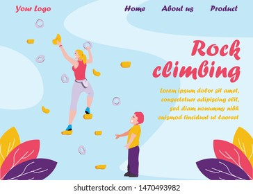 Flat Landing Page Offer Rock Climbing Sport for Family. Cartoon Mother Climbs on Bouldering Wall with Grips and Holds. Son Standing on Floor and Support Parent. Summer Activities. Vector Illustration