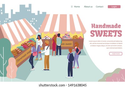 Flat Landing Page Offering Big Handmade Sweets Assortment. Open Air Street Market Presentation. Cartoon People Choosing and Buying Handmade Desserts. Craft Rustic Products. Vector Illustration