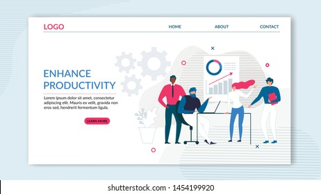 Flat Landing Page Offering Enhance Productivity. Effective Teamwork and Workforce Management. Tools for Increasing Business Profit and Finance Success. Vector Productive Working Illustration