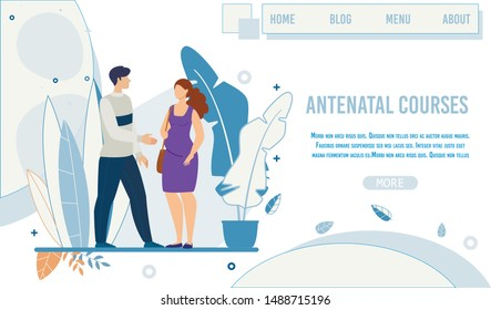Flat Landing Page Promoting Antenatal Courses. Male Teacher, Greeting, Trainer Welcoming Pregnant Woman Came to Training Class. Happy Motherhood. Vector Illustration in Natural Cartoon Design