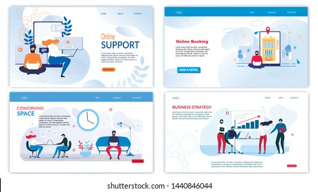 Flat Landing Page Set for Business Development. Coworking Space Organization, Develop Startup Strategy, Online Booking Service and Helpline Chat Support for Clients. Vector Illustration