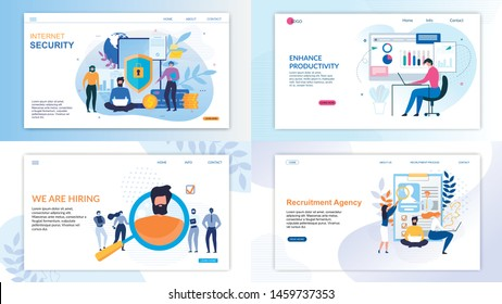 Flat Landing Page Set for Business and Security. Internet Protection Private Account, Data and Finance, Tools to Enhance Productivity and Online Recruitment Agency Service. Vector Illustration