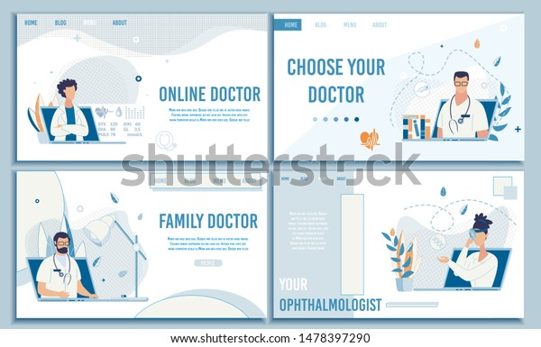 Flat Landing Page Set Offering Choose Doctor Online for Consultation. Different Free Available Medical Specialist. Professional Telemedicine and Healthcare. Vector Cartoon Design Illustration