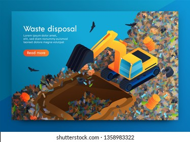 Flat Landing Waste Disposal at Huge Garbage Dump. Volunteer on Bulldozer Cleans Garbage Under Ground so that Decomposes there. Around Car Flying Crows. Disposal for Cleansing Planet from Waste