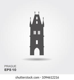 Flat landmark icon of the Powder Tower in Prague, Czech Republic. Vector illustration