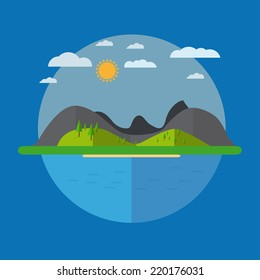 Flat Landscape Design In The Circle Layout With Clouds And Mountain