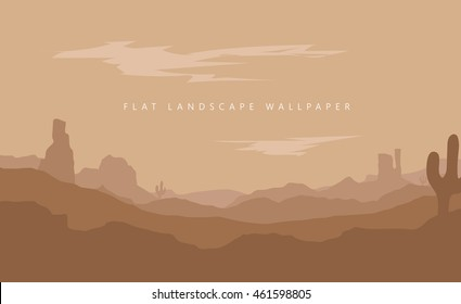 Flat landscape Mountain desert background vector wallpaper illustration