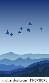 Flat landscape with Mountain Peaks and Birds at night. Vacation and Outdoor Banner. Recreation and Meditation Texture Concept. Serenity Vector illustration background.