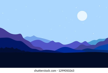 Flat landscape with Mountain Peaks and Moon at night. Vacation and Outdoor Banner. Recreation and Meditation Texture Concept. Serenity Vector illustration background.