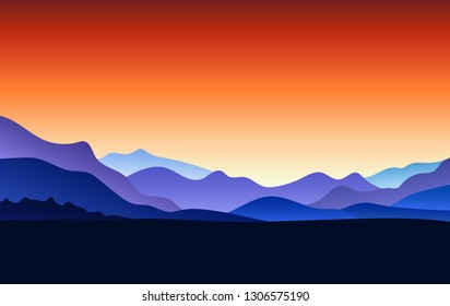 Flat landscape with Mountain Peaks and red gradient sky at sunrise. Vacation and Outdoor Banner. Recreation and Meditation Texture Concept. Serenity Vector illustration background.