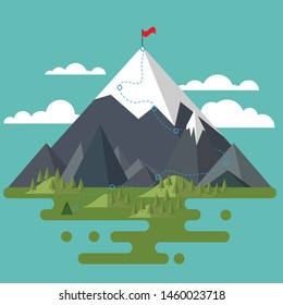 Flat landscape. Mountains, trees and hills. Red flag on the highest peak. Route to the peak. The path to the goal. Achieve the desired
