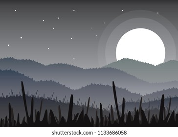 Flat Landscape vector of Mountaint at night with big moon, stars, and grass