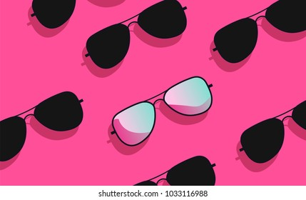 Flat lay fashion with black and pink sunglasses on acid pink background. Vaporwave style vector illustration, punchy pastels.