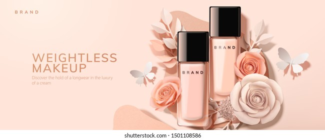 Flat lay foundation in glass bottle with paper roses and butterfly, 3d illustration cosmetic ads