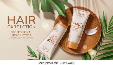 Flat lay hair care lotion ads with tropical leaves in 3d illustration
