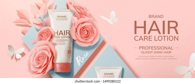 Flat lay hair care product with paper roses and butterfly decorations, 3d illustration cosmetic ads