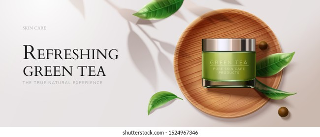 Flat lay natural green tea skincare banner ads with cream jar and leaves in 3d illustration